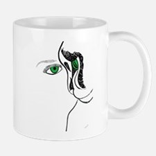 Green eye girl and cat Mugs