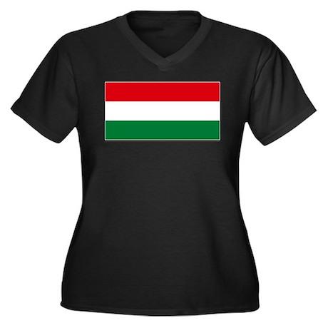 Flag Hungary Women's Plus Size V-Neck Dark T-Shirt