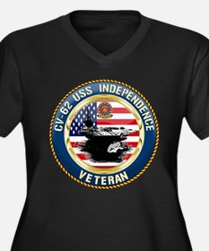 CV-62 USS In Women's Plus Size V-Neck Dark T-Shirt