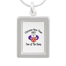 Born Year of The Sheep 2 Silver Portrait Necklace