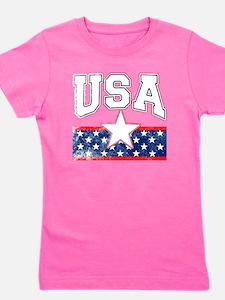 USA with Cool Retro Look Girl's Tee