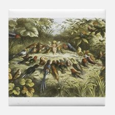 Fairy and Bird drawing Tile Coaster