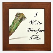 I Write Therefore I Am Framed Tile