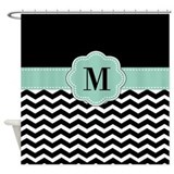 Mint green and black Shower Curtains