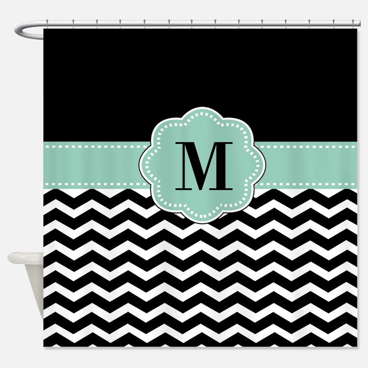 Mint Green And Black Shower Curtains | Mint Green And Black Fabric ...