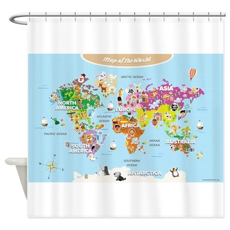 World Map For Kids Cute Shower Curtain By Funmapsforkids