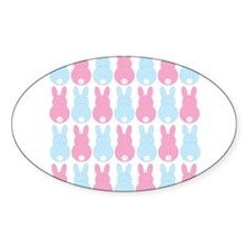 Pink and Blue Bunny Rabbits Decal