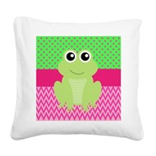 Frog on Pink and Green Square Canvas Pillow