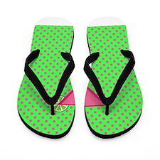 Pink Cocktail on Green Polka Dots Flip Flops