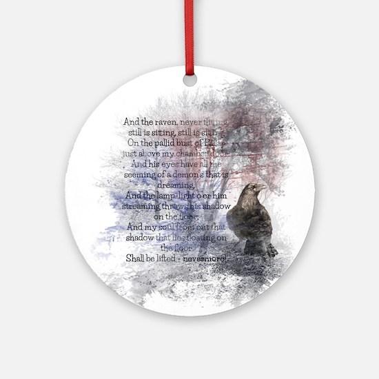 The Raven Edgar Allen Poe Poem Ornament (Round)