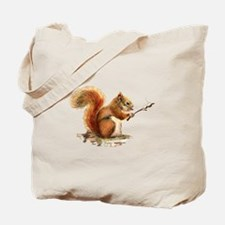 Fun Red Squirrel Roasting Marshmallows Tote Bag