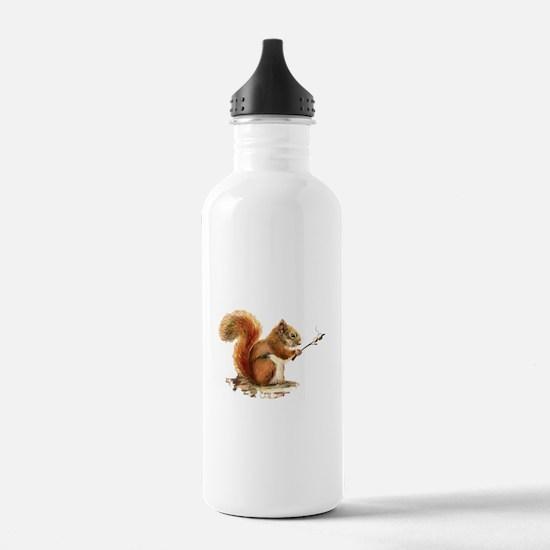 Fun Red Squirrel Roasting Marshmallows Water Bottl