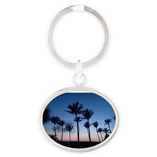 Blue Sunset with Palms Oval Keychain