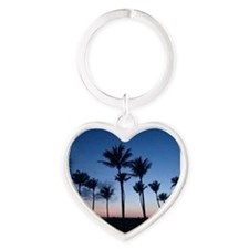 Blue Sunset with Palms Heart Keychain