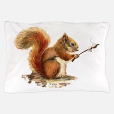 Fun Red Squirrel Roasting Marshmallows Pillow Case