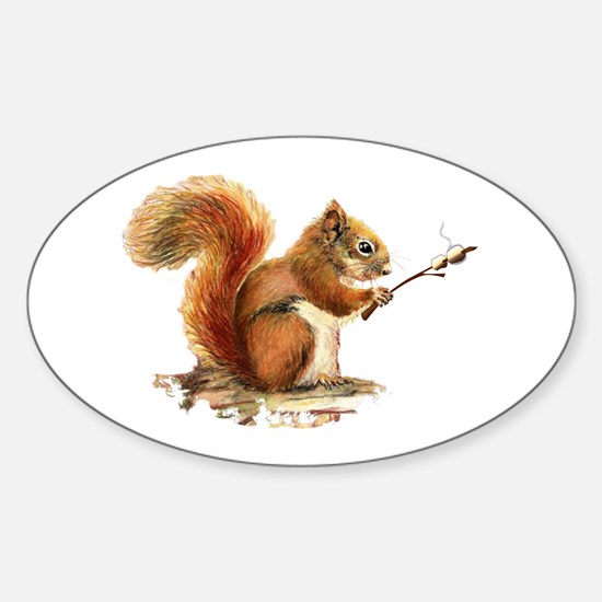 Fun Red Squirrel Roasting Marshmallows Decal