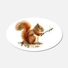 Fun Red Squirrel Roasting Wall Decal