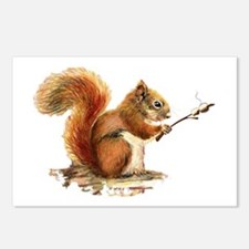 Fun Red Squirrel Roasting Marshmallows Postcards (