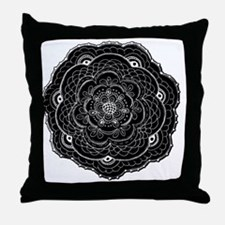 Black Lace Flower Original Art Throw Pillow