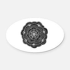 Black Lace Flower Original Art Oval Car Magnet