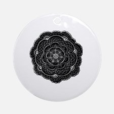 Black Lace Flower Original Art Round Ornament