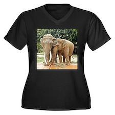 ELEPHANT LOV Women's Plus Size V-Neck Dark T-Shirt