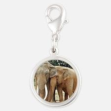 ELEPHANT LOVE Silver Round Charm