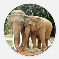 ELEPHANT LOVE Round Car Magnet