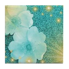 blume in mint Tile Coaster