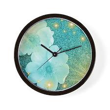 blume in mint Wall Clock