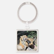 AWESOME TIGER Square Keychain