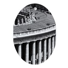 Rome Italy Vatican Black and White P Oval Ornament