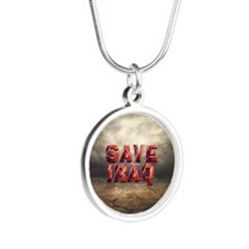 Save Iraq Silver Round Necklace