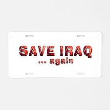 Save Iraq Aluminum License Plate