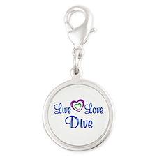 Live Love Dive Silver Round Charm