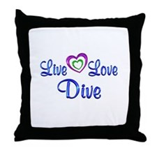 Live Love Dive Throw Pillow