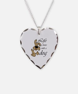 Life is Better With a Dog Necklace Heart Charm