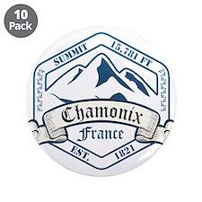 "Chamonix Ski Resort France 3.5"" Button (10 pack)"