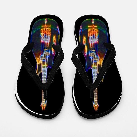 Stylized Electric Bass Guitar Flip Flops
