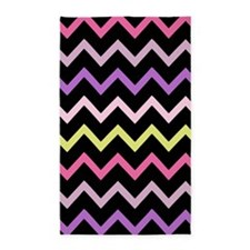 Black Pink Colorful Chevron Stripes 3'x5' Area Rug
