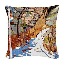 Tom Thomson - Snow and Rocks Woven Throw Pillow