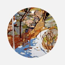 Tom Thomson - Snow and Rocks Round Ornament