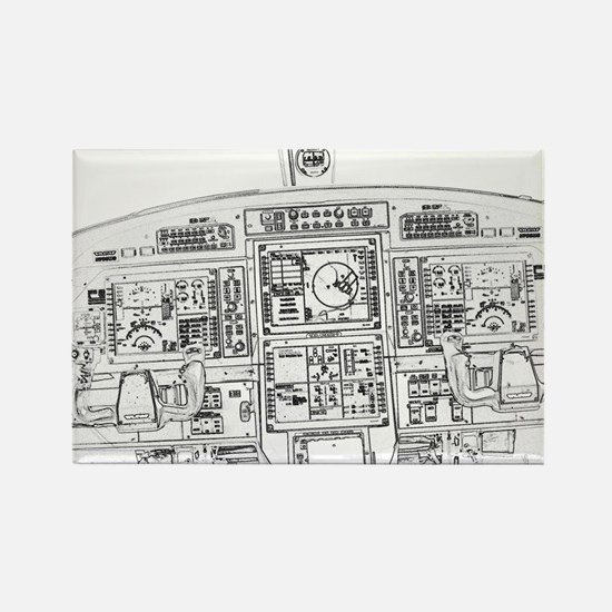 Airplane Instrument Panel Sketch Magnets