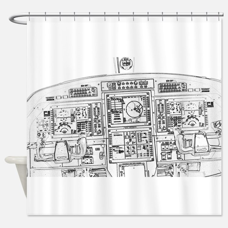 Airplane Instrument Panel Sketch Shower Curtain