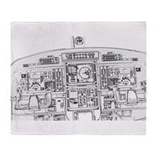 Airplane Instrument Panel Sketch Throw Blanket