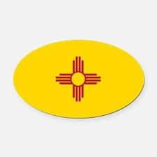New Mexico Flag Oval Car Magnet