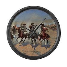 Vintage Cowboys by Remington Large Wall Clock