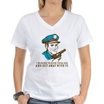 Kick your ass and get away with it Women's V-Neck