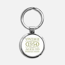 Vintage 1954 Birth Year Round Keychain