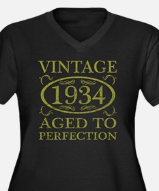 Vintage 1934 Women's Plus Size V-Neck Dark T-Shirt